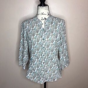 The North Face paisley print button down shirt M